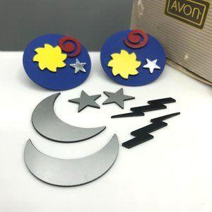RARE Retro Avon Magnetic Collage Earrings, Vintage Unique Studs, Design Your Own